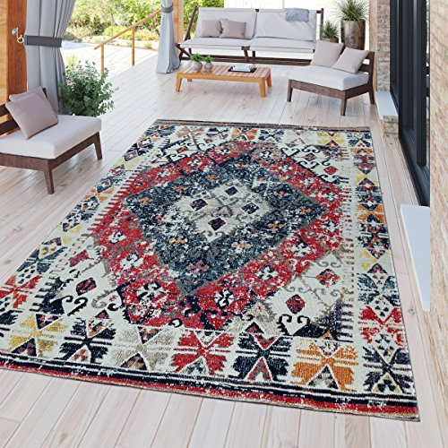 Paco Home Indoor & Outdoor Rug Oriental White Red Blue, Size:60x100 cm
