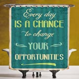 SCOCICI Fun Shower Curtain 3.0 by [Lifestyle,Every Day is a Chance to Change Your Opportunities Quote Retro Poster Print,Jade Green Tan ] Fabric Shower Curtain