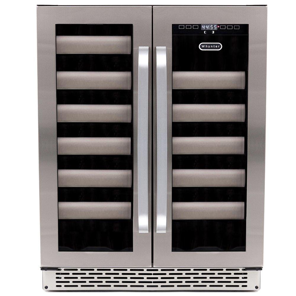 Whynter BWR-401DA Elite 40 Bottle Seamless Door Dual Zone Built-in Wine Refrigerator, Stainless Steel