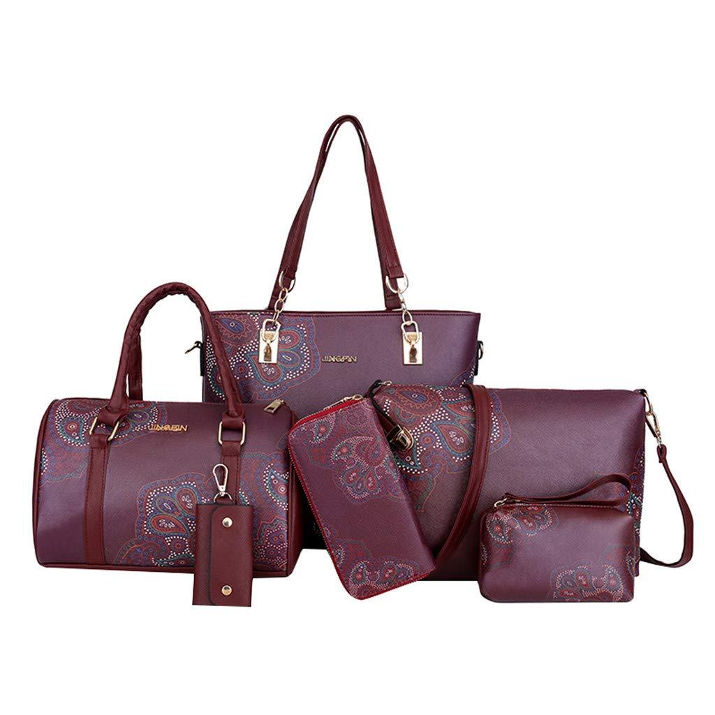 6 Pcs Package, AgrinTol Fashion Leather Shoulder Crossbody Bag Handbag Phone Bag for Women Girls (Red) by Agrintol_Fashion Bags