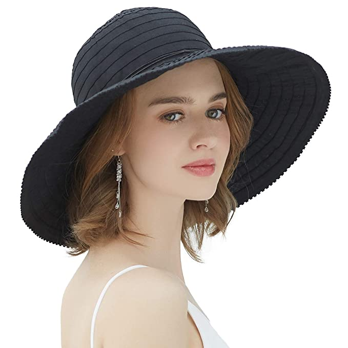 d895f1ec40d82 SOMALER Sun Protection Hats for Women Wide Brim Floopy Beach Hat Packable  Bucket Cap with Chin