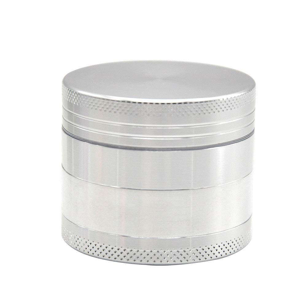 Yzyamz Herb Grinder, Zinc Alloy Four-layer Transparent, Smoker, Manual Grinding, Desktop Grinder, 2.5 Inches (63Mm) (Color : Silver) by Yzyamz