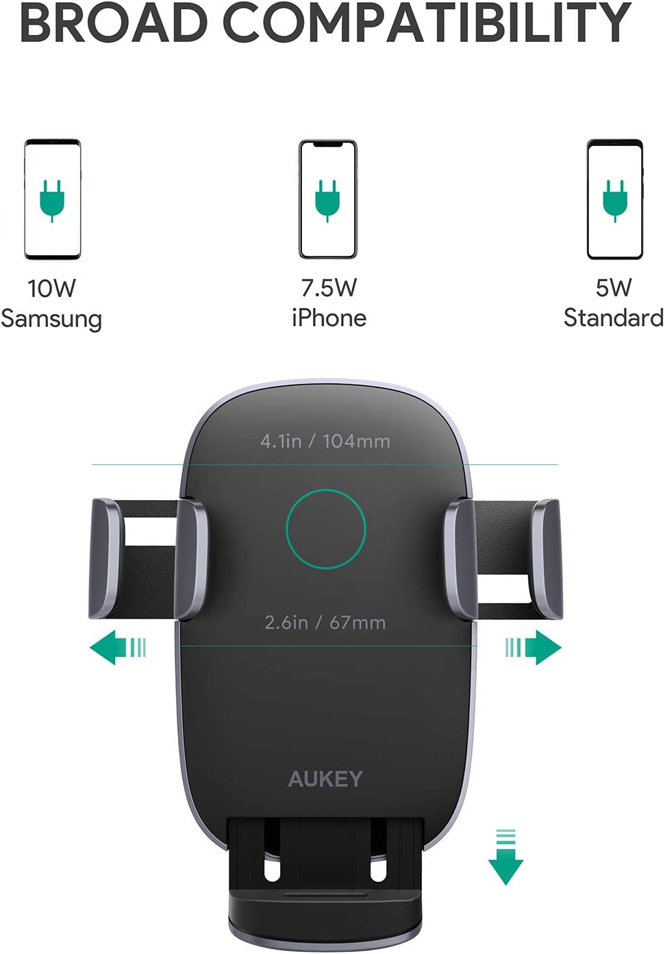 AUKEY Wireless Car Charger 10W Qi Fast Charging Auto-Clamping Car Phone Mount Air Vent Phone Holder Compatible with iPhone11//11Pro//11ProMax//XSMax//XS//X//8//8 Samsung S10//S10+//S9//S9+//S8//S8+//Note and More