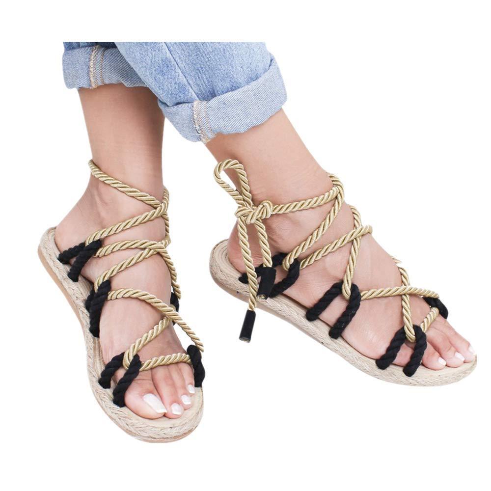 3bb8d9ca953a2 TTbuy Women's Summer Flat Sandals with Hemp Rope Flower Band Open Toe Ankle  Strap Platform Sandals Fashion Party Wedding Platform Shoes for Women Palm  ...