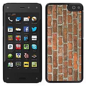 Caucho caso de Shell duro de la cubierta de accesorios de protección BY RAYDREAMMM - Amazon Fire Phone - Pared de ladrillo Brown rústico Orange Street Building