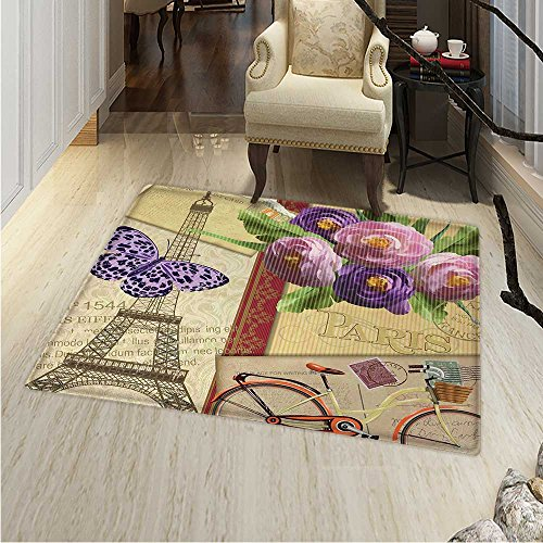 Paris Area Rug Famous French Landmark Eiffel Tower Postcards Abstract Striped Backdrop Print Indoor/Outdoor Area Rug 2'x3' Multicolor