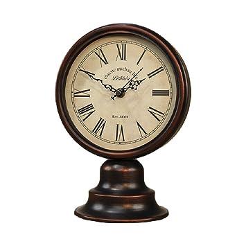 WEIJUN SHOP Reloj Retro, Reloj de Escritorio Que no Hace Tic-TAC, Reloj