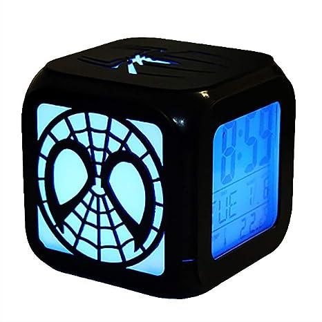 FV-cuerd Spider-Man Creative 3D Reloj Despertador Estéreo LED Luz Nocturna Reloj Despertador