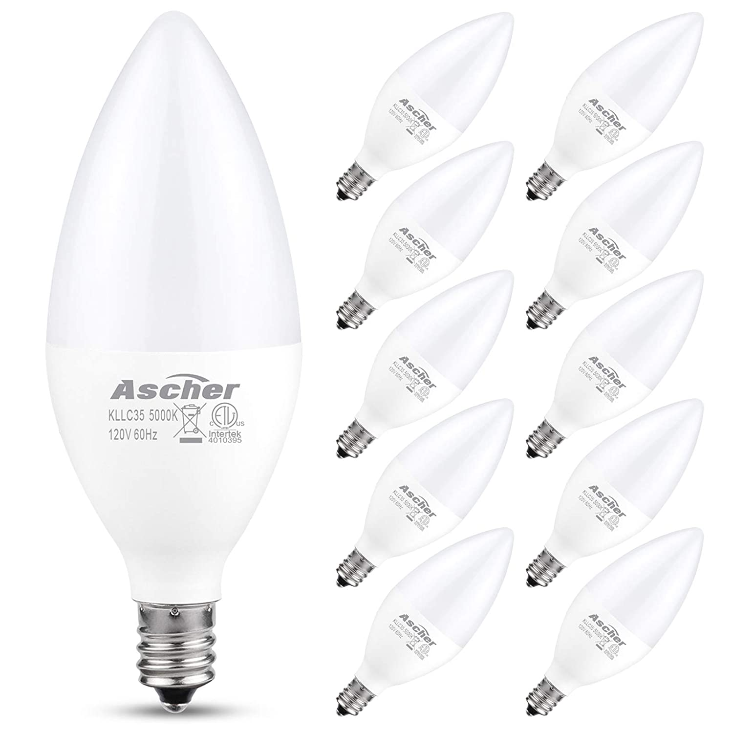 Ascher E12 LED Candelabra Light Bulbs, Equivalent 60W, 550 Lumens, Daylight White 5000K, Candelabra Base, Non-dimmable, Chandelier Bulb, Pack of 10