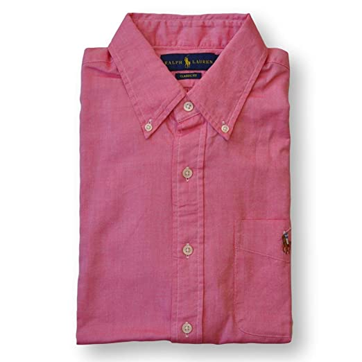73431cdd Image Unavailable. Image not available for. Color: Polo Ralph Lauren Men's  Classic Fit Oxford Sport Shirt, Red, Large