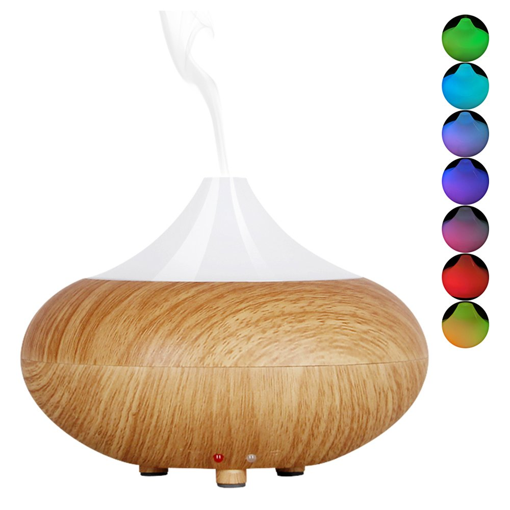 ZENQAI Mini Diffuser Yellow Wood Grain Cool Mist Auto Off Humidifier for Office Home Room Study Yoga Spa 7 Color Light , 140 Milliliters