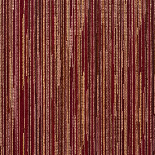 Brown and Burgundy Red Tan Beige Stripe Wood Contemporary Damask Upholstery Fabric by the ()