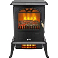 ZOKOP 22.5″ H Electric Fireplace Stove Infrared Quartz Heater - ETL 1500w Infrared Space Heater with 2 Heat Settings, Overheat Shut Off Protection, Rome Heater For Home Indoor Use, Black