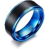 Vnox Viso Anello uomo 8mm Finitura opaca in carburo di tungsteno aggancio di cerimonia nuziale Banda Nero,Blu Dentro