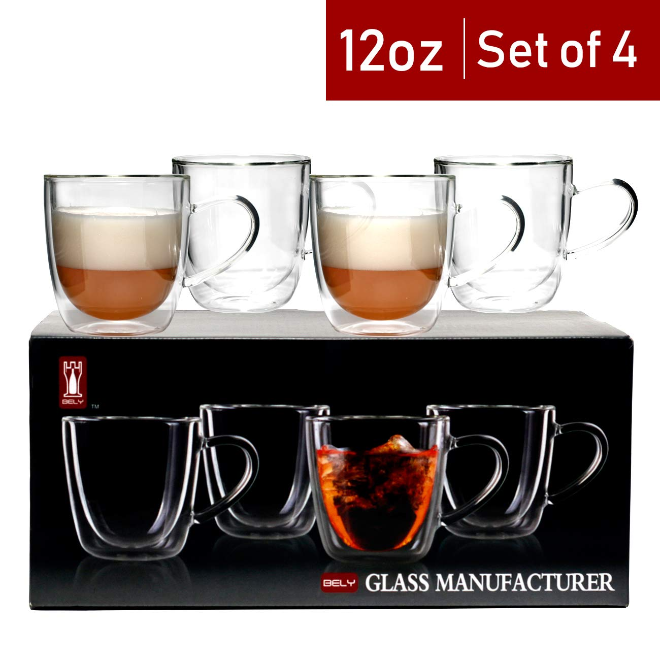 Bely Strong Double Wall Insulated Glass Coffee Mugs/Tea Cups With Handle Set of 4,Clear,12-Ounces