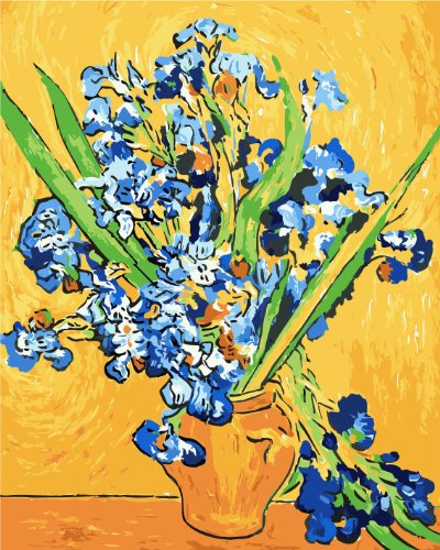 FramedPBN Paint By Number Kits After Vincent Van Gogh's Iries in Vase 13.4