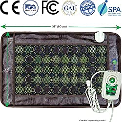 HL HEALTHYLINE - Far Infrared Heating Pad - 32inL x 20inW - Hot Stone Therapy - Negative Ions - 50 2in Pieces Natural Gemstones