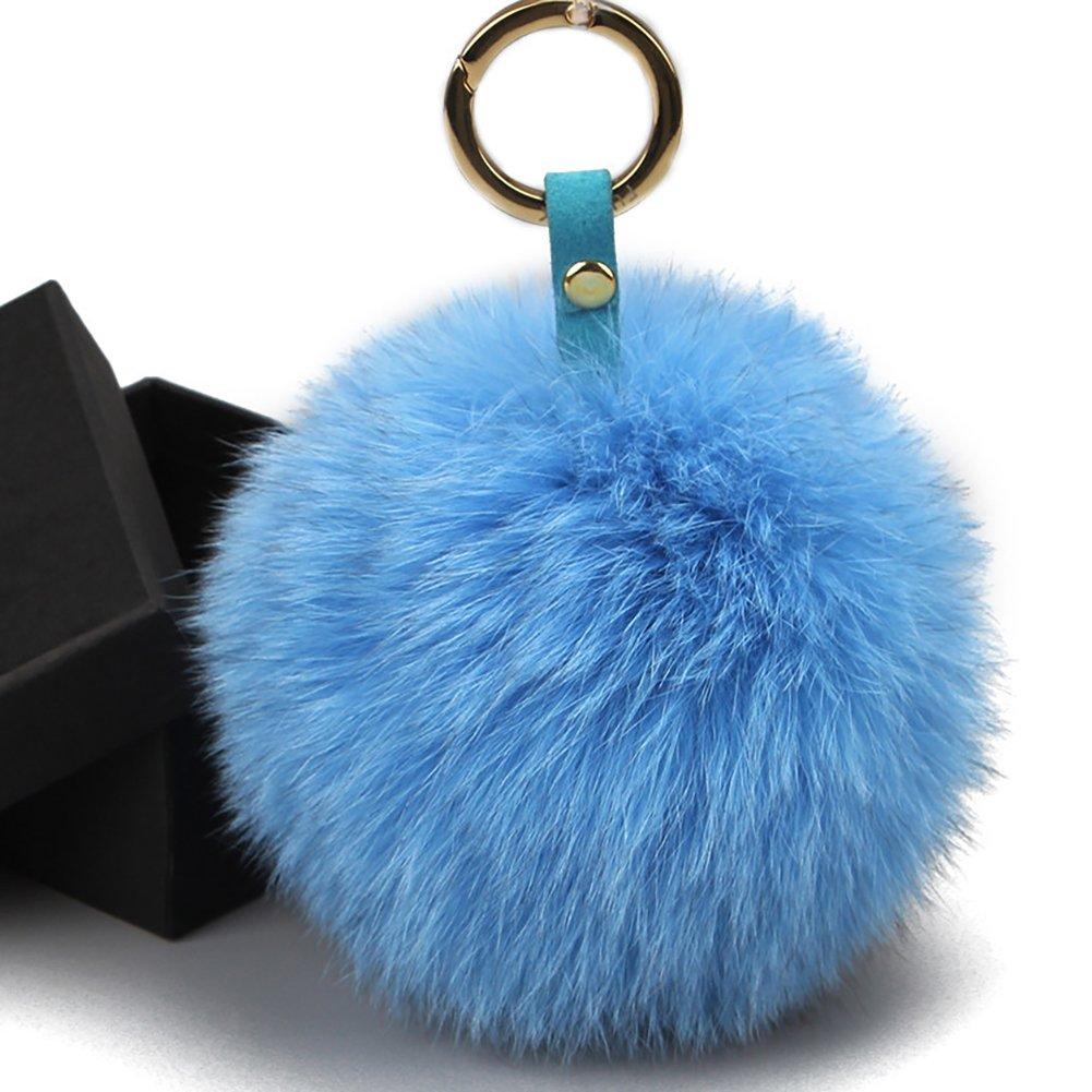 Fur Pom Pom Keychain Bag Charm - Genuine Large Fox Raccoon Fur Handbag Charms FURTALK Original FBall017