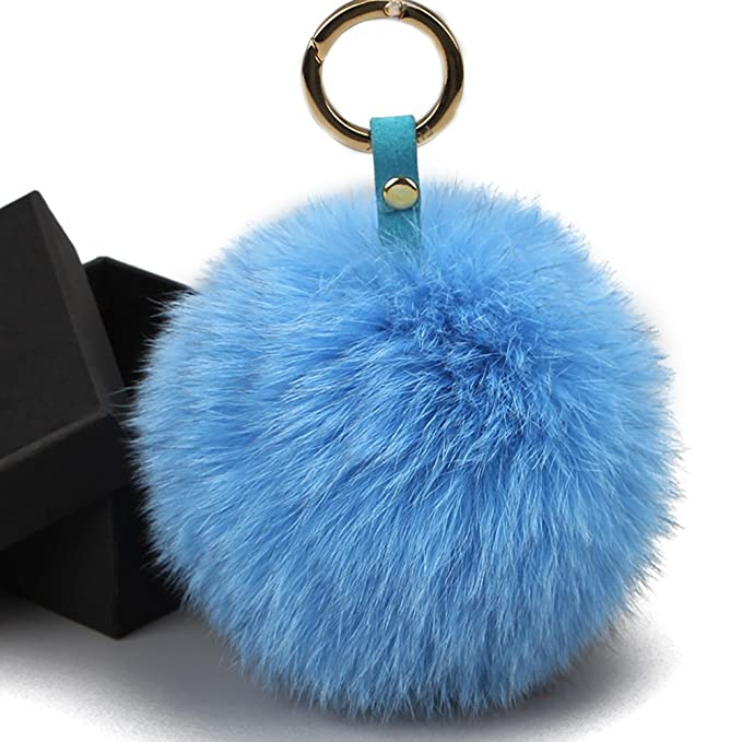 FURTALK Genuine Large Fox Fur Pompoms Mobile Strap Coppia Keychain Fox Fur  Ball (sky blue) at Amazon Women s Clothing store  388a11754e