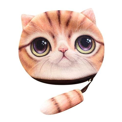 LHWY Mujer Lindo Gato ImpresióN 3D NiñAs Cola Felpa Monedero con Cremallera Monedero De Bolsa De