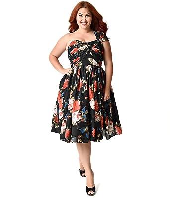 Unique Vintage Plus Size Black Floral Charisse One Shoulder Dress At