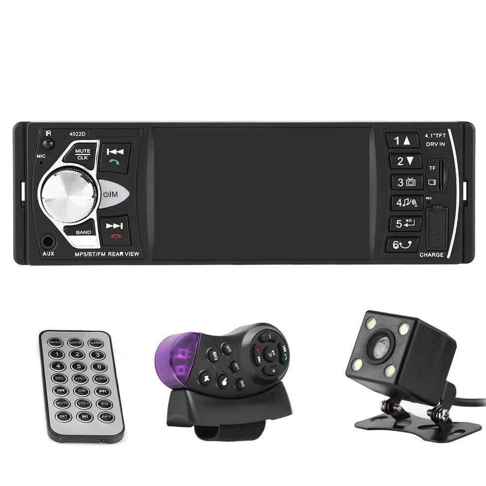 Qiilu Autoradio Bluetooth 4.1 Zoll MP5 Multimedia Player fü r Auto HD Display Freisprecheinrichtung Wiedergabe von Video Radio FM AM AUX USB TF mit Fernbedienung + Kamera Rü ckfahrkamera