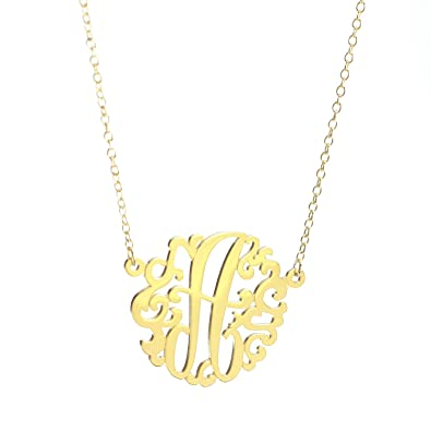 Amazon 14k gold initial monogram necklace best seller 14k gold initial monogram necklace best seller large27mm aloadofball Image collections