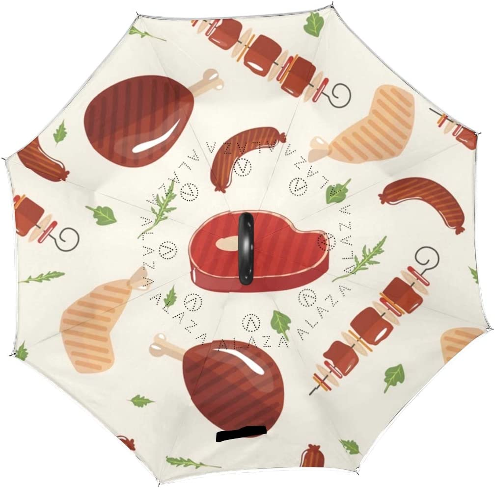 Double Layer Inverted Umbrellas with Grill Barbecue Meat Print Reverse Folding Umbrella for Car