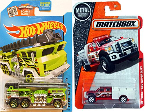 matchbox-2016-fire-trucks-heroic-rescue-2-pk-mbx-ford-f-550-super-duty-fire-engine-89-safety-green-h