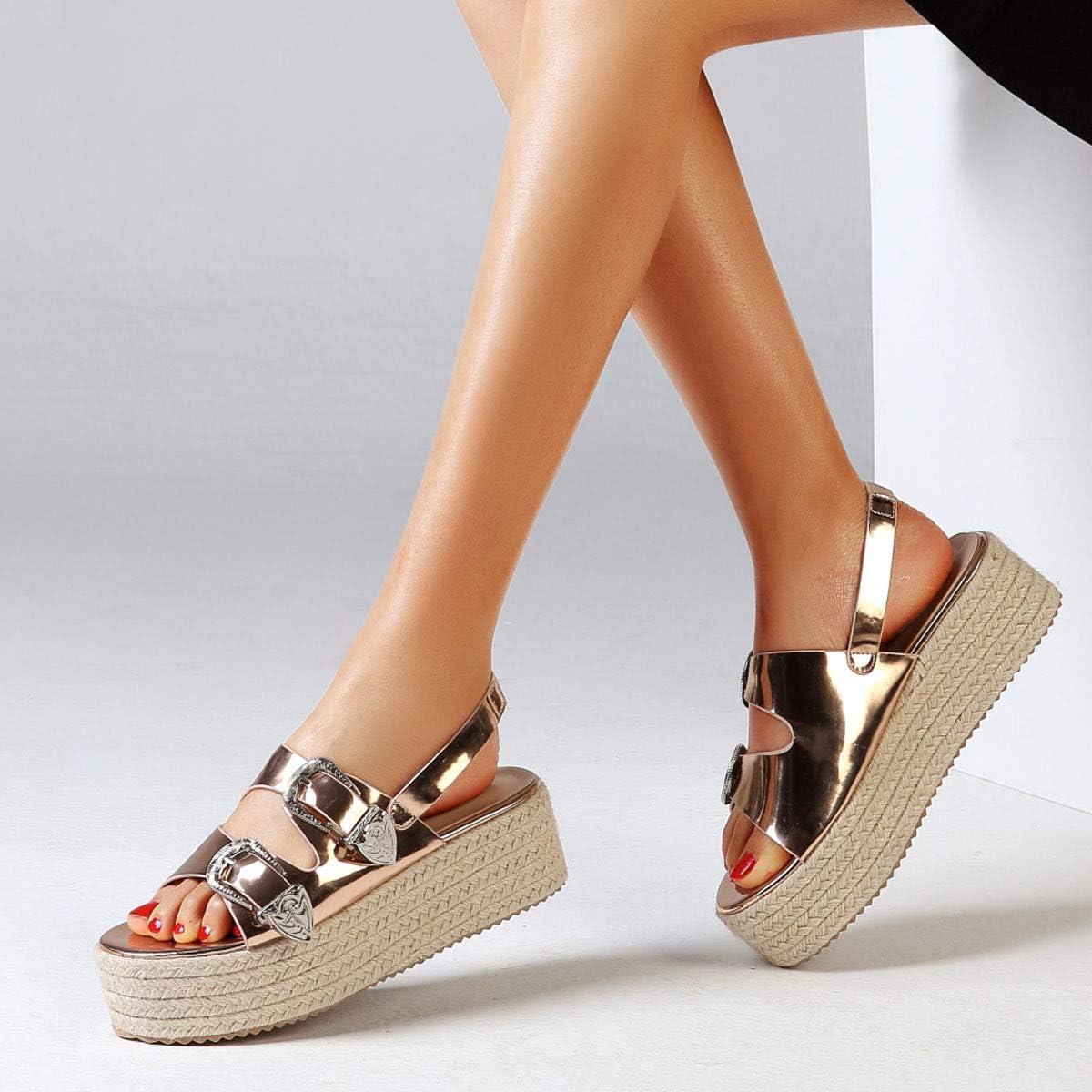 Orangetime Womens Platform Sandals Espadrille Wedge Ankle Strap Studded Open Toe Sandals