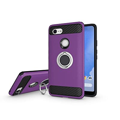 Newseego Compatible with Google Pixel 3 XL Case, Armor Dual Layer 2 in 1 and Finger Ring Holder Kickstand Fit Magnetic Car Mount for Google Pixel 3 XL-Purple: Electronics