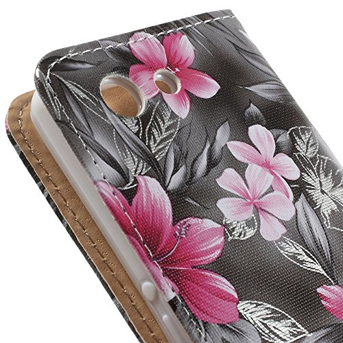 JUJEO Elegant Flowers Magnetic Wallet Leather Stand Cover for Sony Xperia Z3 Compact D5803 M55w - Non-Retail Packaging - Grey