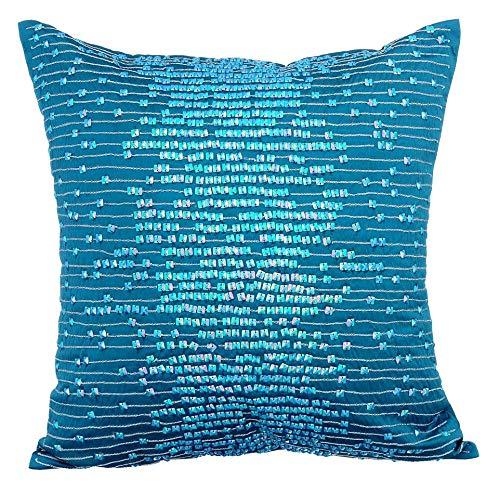 The HomeCentric Designer Blue Euro Pillow Covers, 26x26 Inch Euro Shams, Rainbow Sequins Taffeta Fabric Euro Pillow Shams, Square Taffeta Euro Sham, Striped Modern Euro Shams - Shimmer & Shine