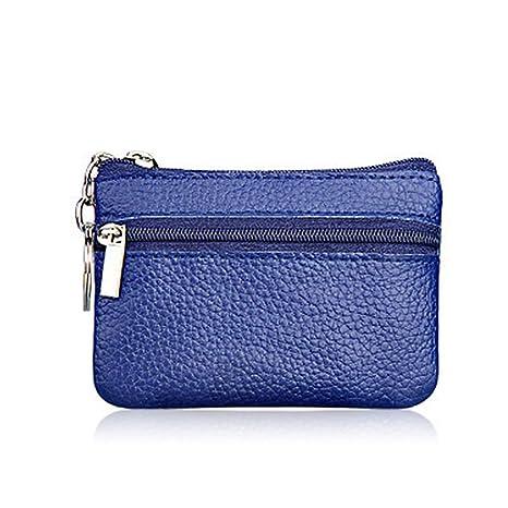 Doitsa - Monedero multifuncional con cremallera, mini bolso para monedas, bolsa de piel sintética para mujer, 1 unidad, Piel sintética, Bleu Foncé, ...