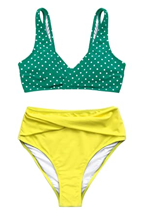 ad060df4e9f52 CUPSHE Women's Green Polka Dot and Yellow Tank Top High Waisted Bikini  X-Small