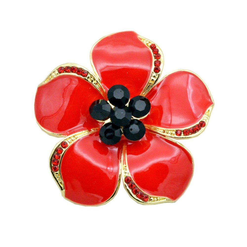 Poppy Brooches Remembrance Sunday Red Flower Rhinestone Badges Banquet Enamel Poppy Lapel Pin Bling Stars BH-01-0002-#52