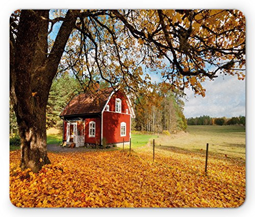 Fall Mouse Pad by Ambesonne, Quaint Traditional Red Swedish House Tranquil Environment Cottage Countryside Woods, Standard Size Rectangle Non-Slip Rubber Mousepad, Multicolor - Quaint Cottage