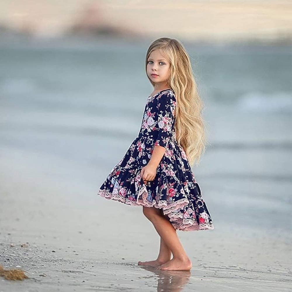 Kobay Kinder M/ädchen Langarm Blumendruck Unregelm/ä/ßiger Rand Tanzen Kleid