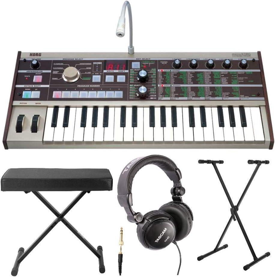 Korg MicroKORG - Sintetizador analógico compacto con 8 bandas de vocoder y micrófono con banco de teclado y auriculares de piano digital