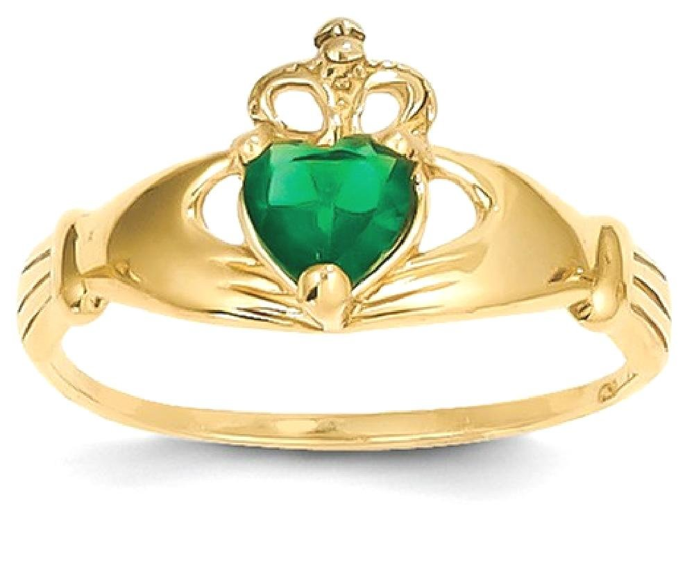 ICE CARATS 14k Yellow Gold Cubic Zirconia Cz May Birthstone Irish Claddagh Celtic Knot Heart Band Ring Size 7.00 Style Fine Jewelry Gift Set For Women Heart