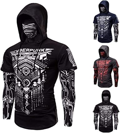 Yuncheng Sweat Vest for Men Men's Outdoor Fake Two-Piece Cyberpunk Ninja Suit Hooded Mask Riding T-Shirt Slim Jogger Bodybuilding Long Sleeve Personality Coat