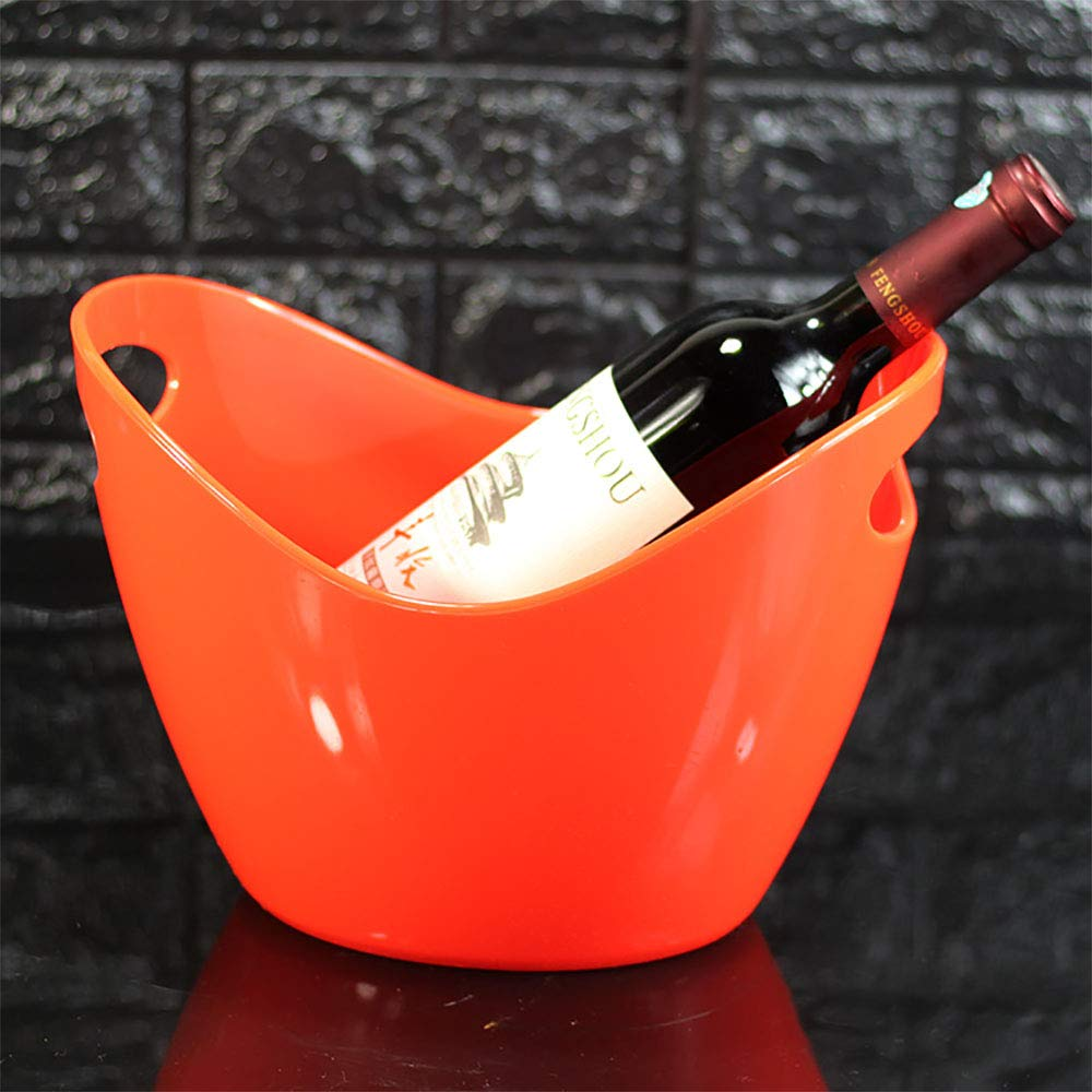 JLCP Eis Schaufel Plastik Ice Pellet Barrel Familienfeier Picknick Reise-Bar Wein Cocktail Kü hler 3L, Orange