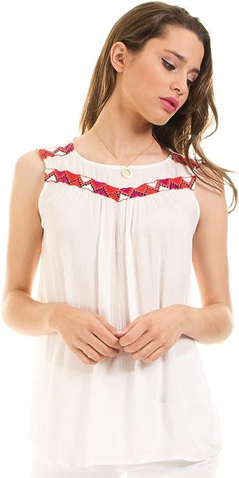 Vila Blusa Blanca ibicenca étnica Viadisa Clothes (Blanco - 34): Amazon.es: Ropa y accesorios