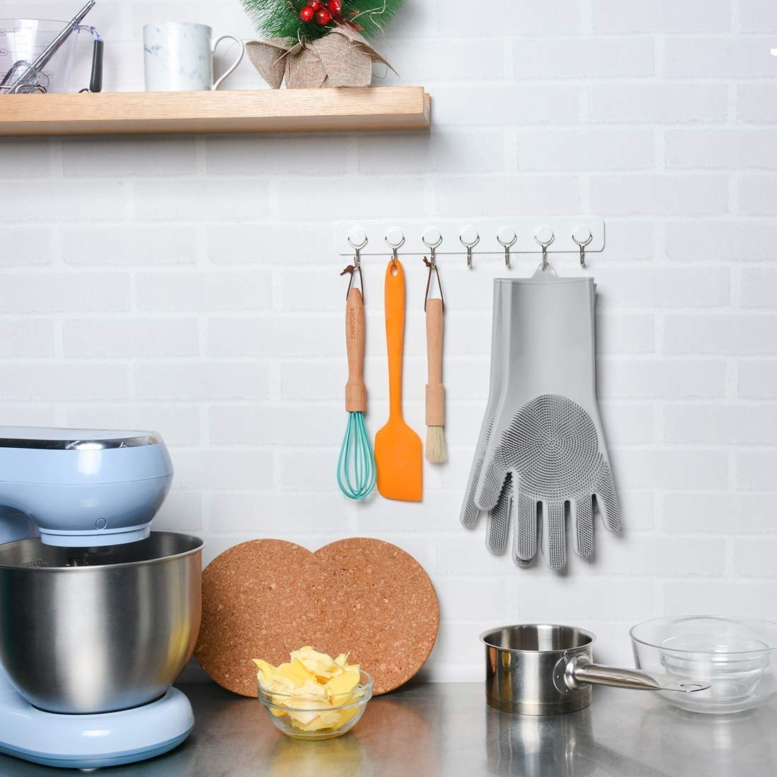 LMKJ Upgraded Gray Magic Silicone Dishwashing Gloves,Reusable Silicone Brush Scrubber Gloves with Long Bristles,Heat Resistant Great for Cleaning Dishwashing,Kitchen and Bathroom