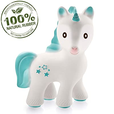 caaocho 100% Pure Natural Rubber Baby Teether Toy - MIRA Unicorn - Without Holes, BPA, PVC, Phthalate Free, Sealed Hole, Textured for Sensory Play, Hole Free Natural Teether for Babies (Turquoise) : Baby