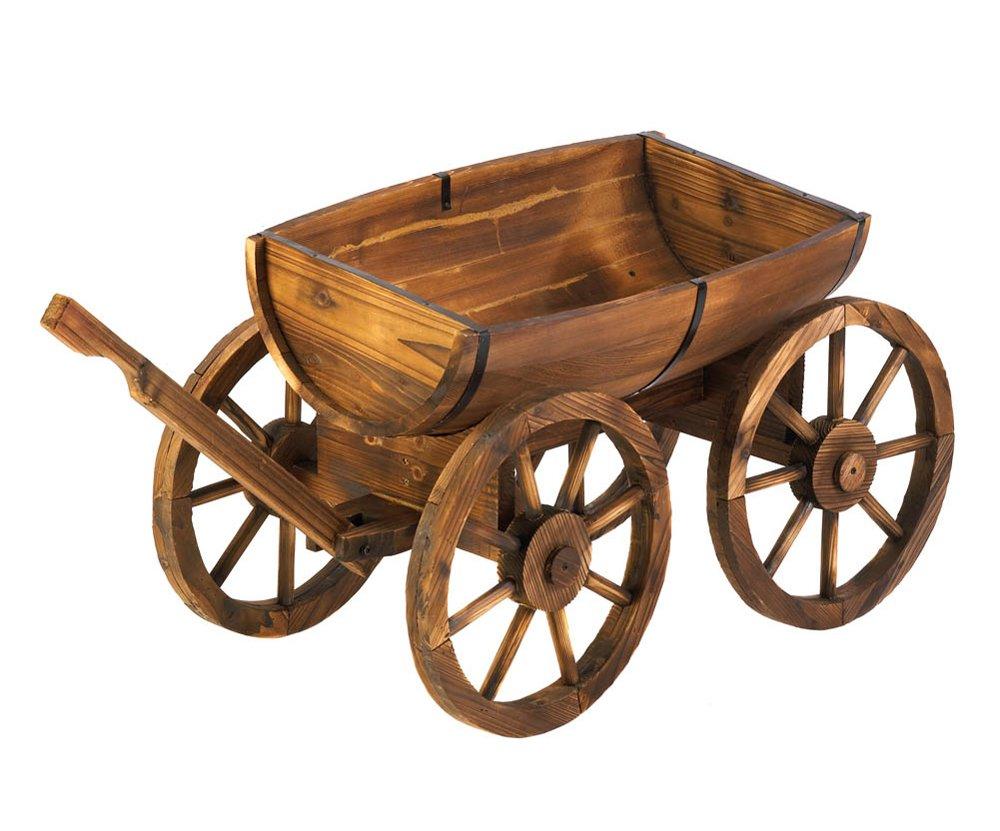 Amazon.com : Koehler Home Outdoor Garden Decorative Wooden Apple Barrel  Potted Plants Wagon Wheel Crafts Planter : Garden U0026 Outdoor