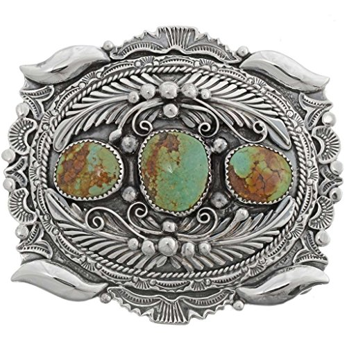 Navajo Turquoise Sterling Belt Buckle Nevada Number 8 Stones (Number Buckle)