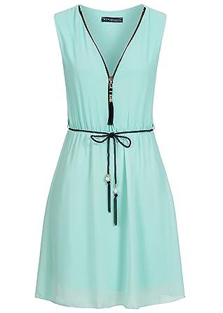 Violet Fashion Damen Kleid mit V-Ausschnitt und Kordelgürtel Reißverschluss  vorne hell grün, Gr  L  Amazon.de  Bekleidung 98d203bec5
