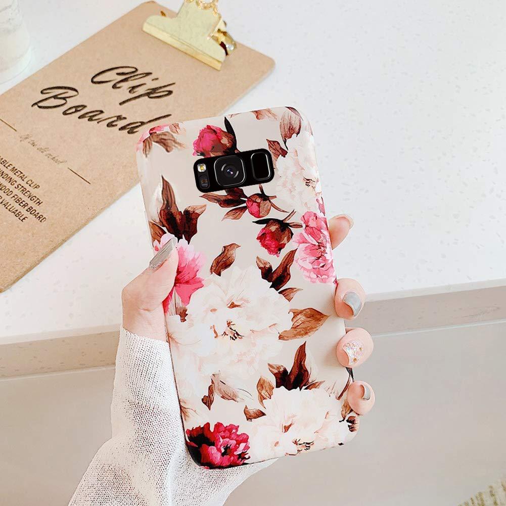 Kompatibel mit Samsung Galaxy S8 H/ülle,Handyh/ülle Galaxy S8 Case Blumen Bl/ätter Ultrad/ünn TPU Silikon H/ülle Schutzh/ülle Weiche Crystal Clear Silikon Bumper R/ückschale Case Cover,Grau