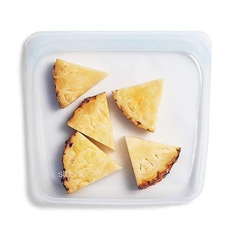 Stasher - Recipiente de silicona reutilizable de grado alimenticio de calidad máxima, plástico, transparente, Sandwich/Medium